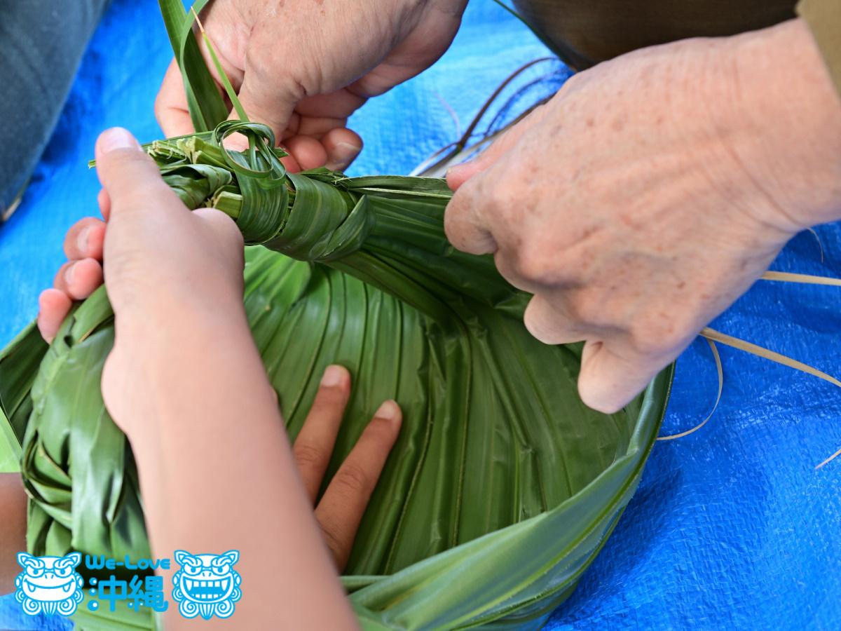 クバの葉かご作り体験