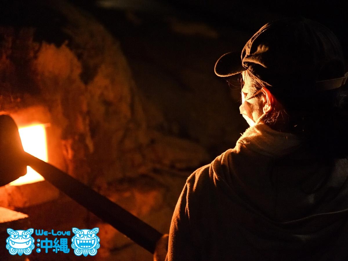 読谷山焼・北窯の登り窯とやちむん作り、窯焚きあげ